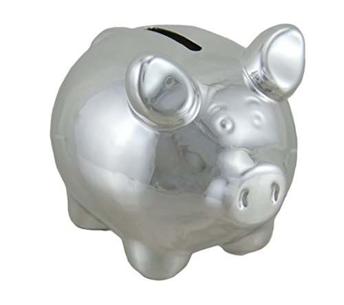 (Zeckos Portly Pig Metallic Chrome Finish Mini Ceramic Coin Bank 4 Inch )