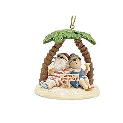 Beach Themed Christmas Ornaments Cape Shore Santa and Mrs. Claus Island Secret Hideaway Palm Ornament beach themed christmas ornaments