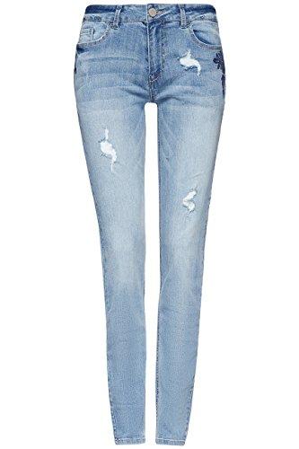 Slim Find Jeans Fit Donna Ricami denim Blu Con 5qP176Zq