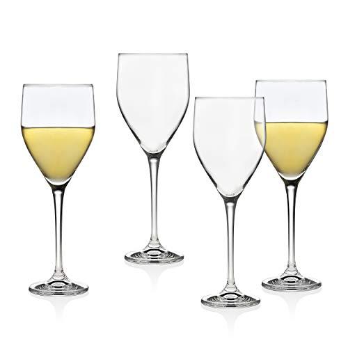 Wine European White Glass - Godinger Wine Glasses Goblets, Stemmed Beverage Cup - European Made - 12oz, Set of 4