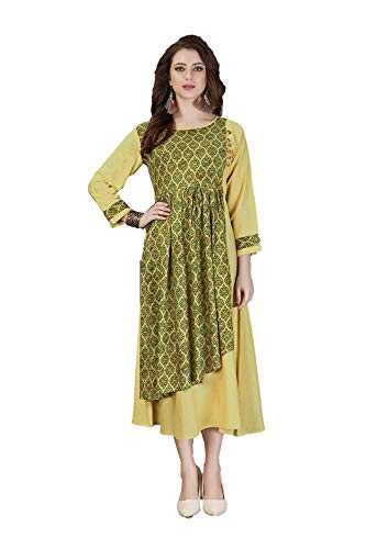 Traditonal Light Ethnic Green Yellow 3 Kurti Women Indian Designer Readymade Facioun Partywear Da UwZ6FYqZ