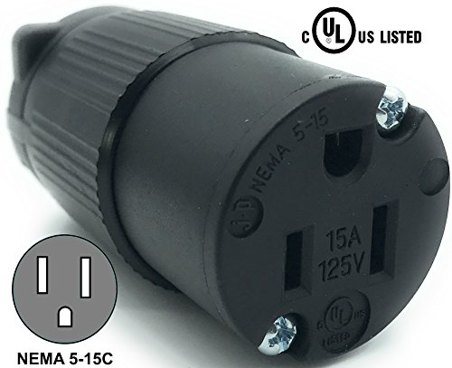 Journeyman-Pro 515CV 15 Amp 120-125 Volt, NEMA 5-15R, 2Pole 3Wire, Straight Blade, Female Plug Replacement Cord Outlet, Commercial Grade PVC Black (BLACK 1-PACK)