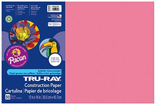 Pacon Tru-Ray Construction Paper, 12-Inches by 18-Inches, 50-Count, Shocking Pink (103045)