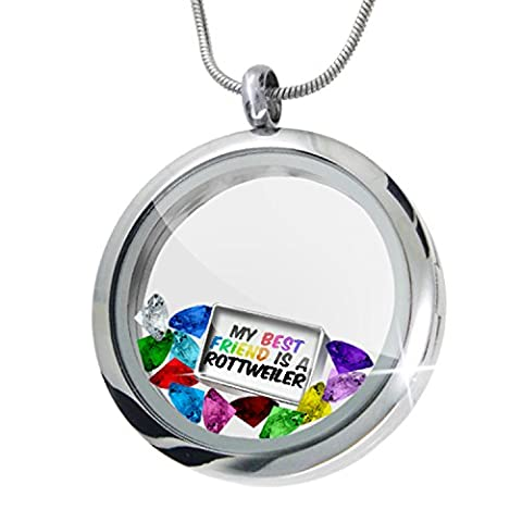 Floating Locket Set My best Friend a Rottweiler Dog from Germany + 12 Crystals - Rottweiler Jewelry