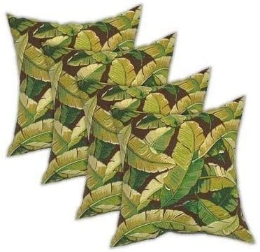 Resort Spa Home Set of 4 -Square Decorative Throw Toss Pillows – Green Brown Balmoral Leaves Pattern 17 x 17