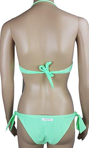Bikini Neckholder / Pailletten ,Häkel und Bestickungen / Gr 36 XS /grün neon