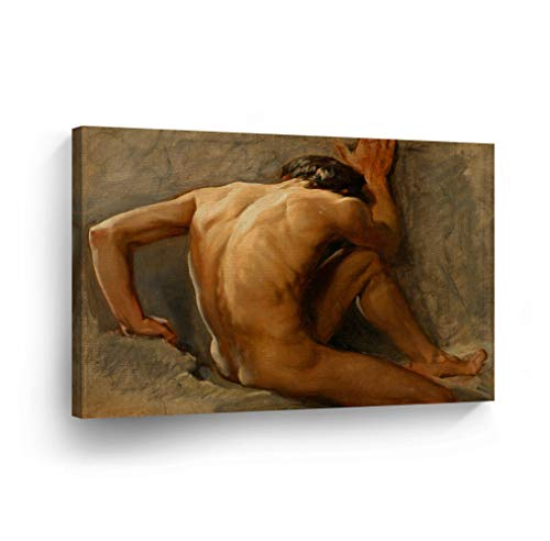 Nude Man Oil Painting Canvas Print Sexy Man Back Naked Nude Wall Art Home Decor Artwork Wall Art Wrapped Stretcher Bars Ready to Hang%100 Handmade in The USA - 8x12