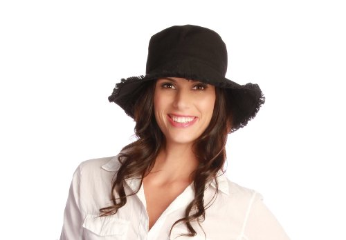 Physician Endorsed Women's Castaway Canvas Bucket Packable Hat with Fringe Rated UPF 50+, Black, One Size