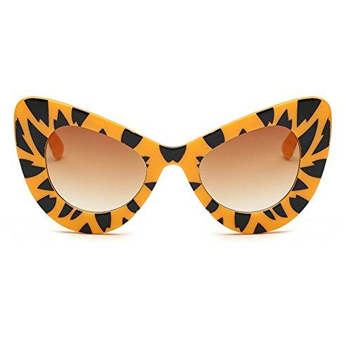 de Yefree Eyewear Retro Cat Womens de Té Oversized Gafas Round Cateye Eye Gradiente Leopardo Amarillo Bold Rim sol de rcnan6Ww