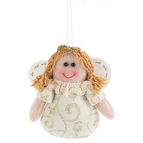 Dicksons Angel With Lace Collar Ivory and Carmel Glitter 4.5 x 5 Fabric Christmas Ornament