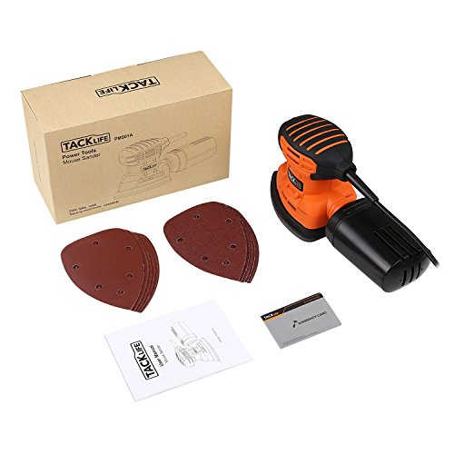 Mouse Detail Sander with 12Pcs Sanderpaper, Tacklife 12000 OPM Sander with Dust Collection System for Tight Spaces Sanding in Home Decoration, DIY - PMS01A by TACKLIFE (Image #7)