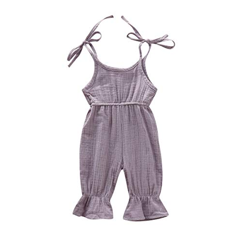 3PCS Newborn Toddler Baby Girl Clothes Ruffle Romper Bodysuit Jumpsuit + Bowknot Floral Pants + Headband Infant Outfit Set (Light Purple-Cute Baby Girl, 0-6 Months)