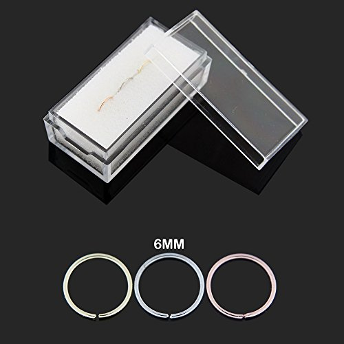 3 Pieces Box set of 14 Karat Solid Gold 20 Gauge - 6MM Length Seamless Continuous Nose Hoop Ring by PiercingPoint (Image #1)