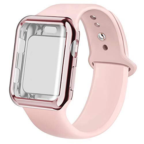 jwacct Compatible for Apple Watch Band with Screen Protector 42mm, Soft Silicone Replacement Sport Band Compatible for Apple iWatch Series 1/2/3