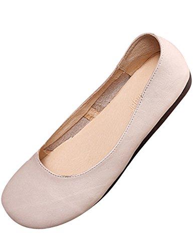 Zoulee Womens Nouveau Cuir Fait Main Appartements Chaussures Ballet Chaussures Plates Beige Blanc