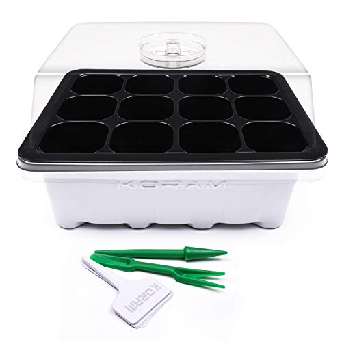 KORAM 10 Sets Seed Starter Tray 120 Cells Seed Tray Plant Germination Kit Garden Seed Starting Tray with Dome and Base Plus Plant Tags Hand Tool - Plastic Seed Trays