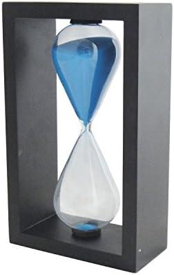VStoy Wooden Frame Hourglass Sand Timer Black Frame Blue Sand Black Frame Blue 60 Minutes