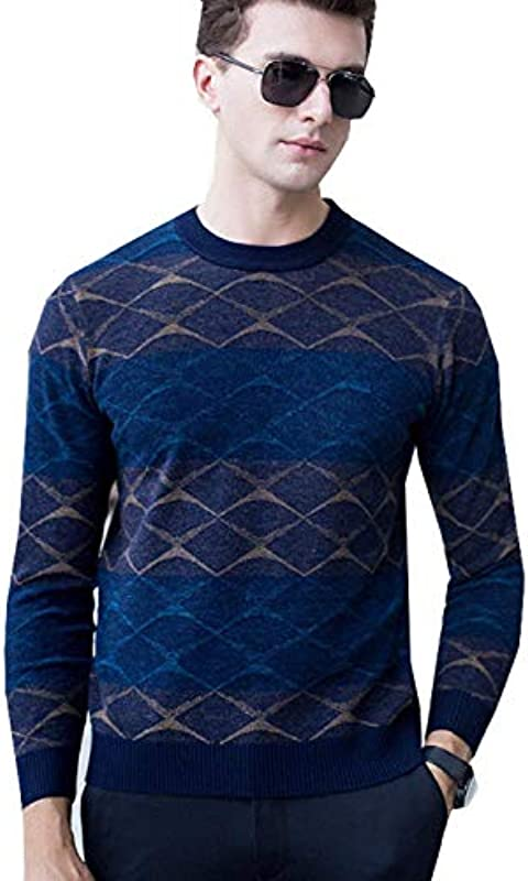 Sweter męski wiosna jesień sweter z dzianiny vintage casual moda elegancka sweter z dużym nadrukiem długi rękaw okrągły dekolt Slim Fit sweter z dzianiny: Odzież