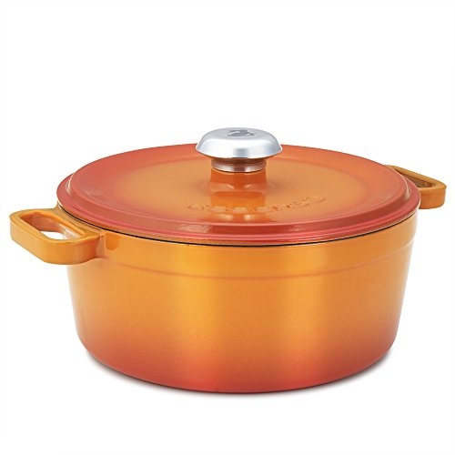 (Essenso Chambery 3 Layer Enameled Orange Cast Iron Small Dutch Oven 3 qt )