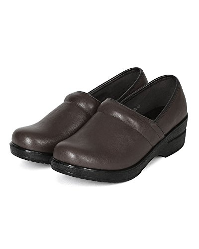 Refresh Women Leatherette Round Toe Slip On Clog BH36 - Brown (Size: 8.5) by Refresh (Image #4)'