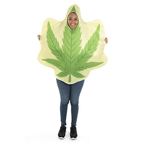 Homegrown Leaf One-Size Halloween Costume - Funny Adult Unisex Mascot Suit Green