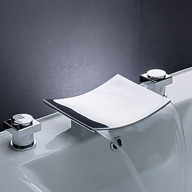√Contemporary / Modern WaterfallCeramic Valve Two Handles Three Holes for Chrome Bathtub Faucet by FAUCET&YAMEIJIA