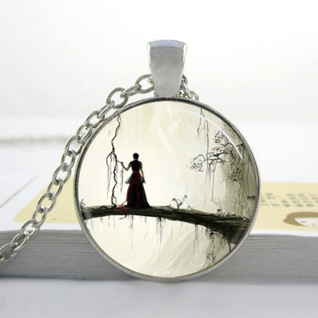 (Pretty Lee Glass Dome Necklace Gothic Jewelry Spooky Woman Silhouette Enchanted Forest Fantasy Art Pendant Fashion Necklaces For Women 2015)