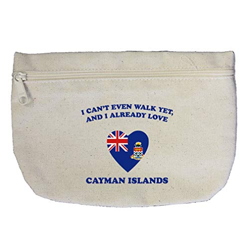 Can'T Walk Already Love Cayman Islands Cotton Canvas Makeup Bag Zippered ()