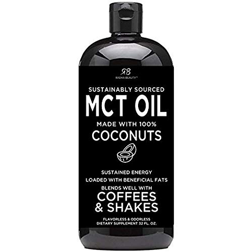Premium MCT Oil Made only from Coconuts - 32oz BPA Free Bottle. Keto, Paleo, Gluten Free and Vegan Diet Approved by Radha Beauty (Best Pct Supplement On The Market)