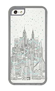 Apple Iphone 5C Case,WENJORS Cute Winter in New York Soft Case Protective Shell Cell Phone Cover For Apple Iphone 5C - TPU Transparent