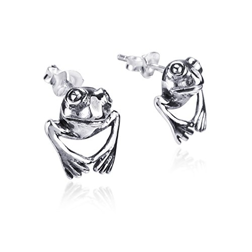 Sterling Silver Leaping Frog (3D Leaping Frog Prince .925 Sterling Silver Stud Earrings)