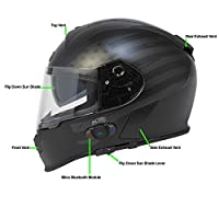 Torc T14B Bluetooth Integrated Mako Full Face Helmet with Flag Graphic (Flat Black, XX-Large) by Torc
