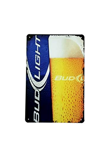 K&H Budweiser Bud Light Retro Metal Tin Sign Posters Café Bar Diner Pub Restaurant Wall Decor 12X8-Inch