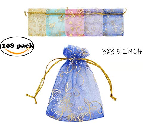 Charlotte 108PCS Organza Drawstring Gift Bags, Wedding Party Favor Present Bags Jewelry Pouches with Drawstring. (3x3.5 INCH, Mix Rose)/CB-004 ()