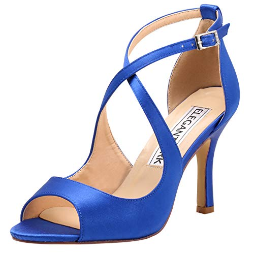 ElegantPark HP1820 Women Peep Toe High Heel Sandals Cross Strappy Wedding Evening Dress Shoes Buckle Stain Blue US 8
