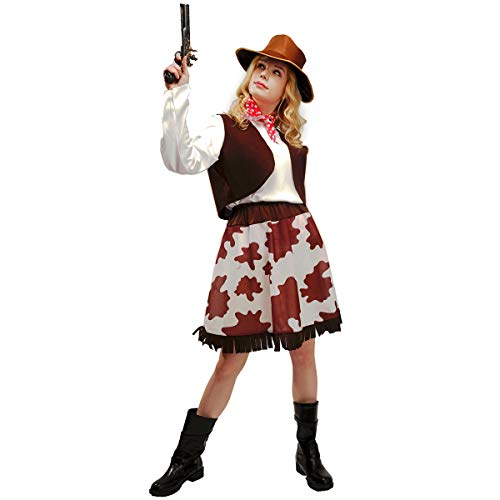 flatwhite Adult Women Cowgirl Costumes,Coffee,white,red,One Size
