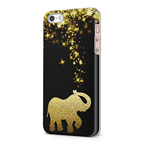 uCOLOR Case Compatible with iPhone 5S/5/SE Cute Protective Case Black Gold Glitter Elephant Slim Soft TPU Silicon Shockproof Protective Cover (Best Protective Case For Iphone 5s Gold)
