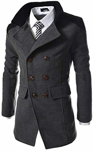 Long Winter Mens Grey Breasted Trench Coat Mid Wool today Double UK Blend Dark 6EBSwq8