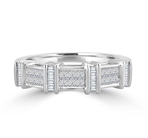Samaya Jewels 1/2ct Princess & Baguette Diamond 14k White Gold Wedding Anniversary Band Ring