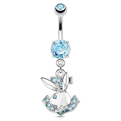 - Inspiration Dezigns Playboy Bunny with Paved Gemmed Anchor Dangle 316L Surgical Steel Navel Ring (Aqua)