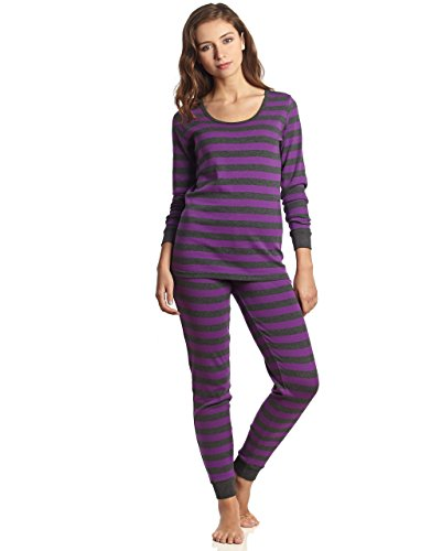Leveret Womens Fitted Striped 2 Piece Pajama Set 100% Cotton (Medium, Purple & Grey)