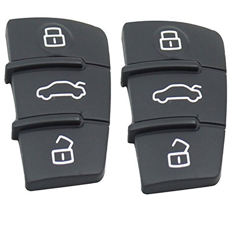 A3 Rubber (Heart Horse Replacement 3 Buttons Rubber Pad for Audi A3 A4 A5 A6 A8 Flip Remote Key Fob 2pcs)