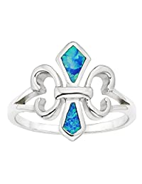 Sterling Silver Created Blue Opal Fleur de Lis Ring