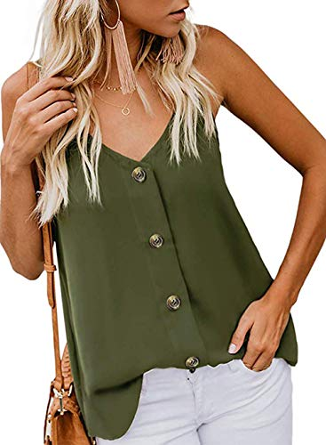 DRIBET Women's Summer Button Down Deep V Neck T-Shirt Strappy Cami Tank Tops Loose Casual Sleeveless Shirts Blouses (Amy Green, L)