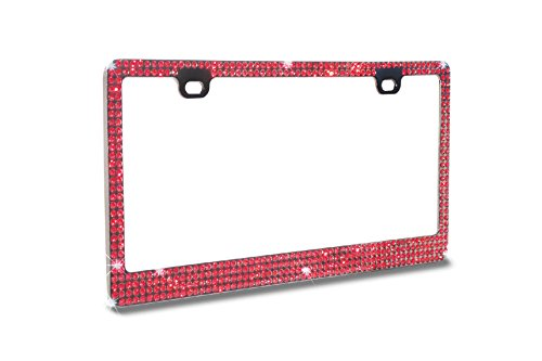 - Super Bling Red Color(RB)Real Crystal Rhinestone Embedded-Metal Black/Smoke License Plate Frame