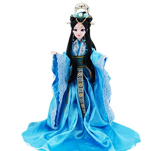 Udecoroption Oriental Decor, Tabletop Decorative Doll with Exquisite Hairstyle and Doll Clothes Outfits Chinese Dressed Up Figurine for Home - Chinese Collectible Doll
