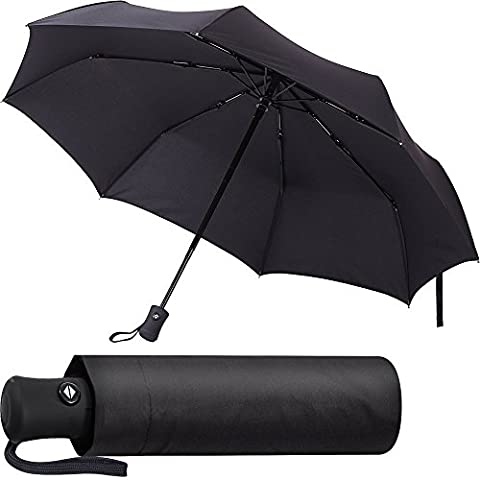 Black Umbrella - Compact and Folding - Auto Open and Close - Windproof - for Men & Women