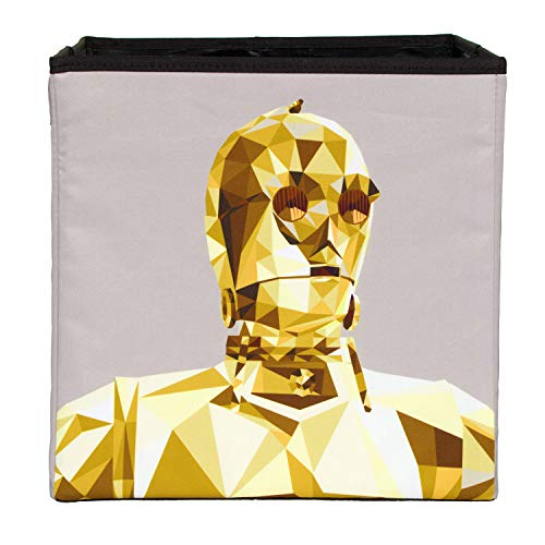 Everything Mary Star Wars C-3PO Collapsible Storage Bin by Disney - Cube Organizer for Closet, Kids Bedroom Box, Playroom Chest - Foldable Home Decor Basket Container with Strong Handles and Design