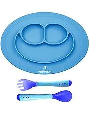 Redlemon Plato para Bebé Antiderrapante de Silicón Grado Alimenticio, Libre de BPA, Seguro para Microondas, Incluye Cubiertos, Fácil de Limpiar, Evita Derrames y Accidentes. Azul