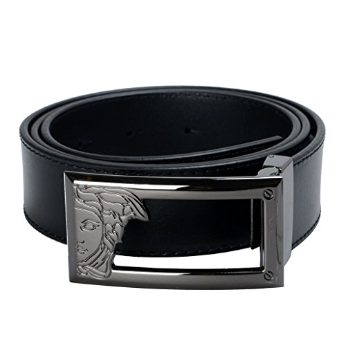 Versace Collection Men's Black Leather Buckle Decorated Belt US 32 Versace Sz - Collection Men Versace